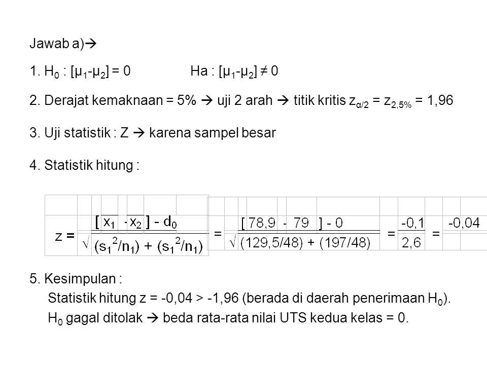 Jawab a) 1. H0 : [μ1-μ2] = 0 Ha : [μ1-μ2] ≠ 0. 2. Derajat kemaknaan = 5%  uji 2 arah  titik kritis zα/2 = z2,5% = 1,96.